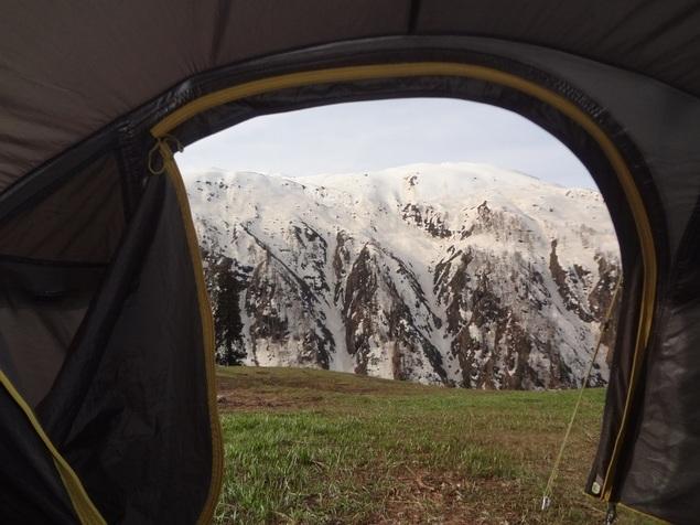 Vue depuis la tente au petit matin
