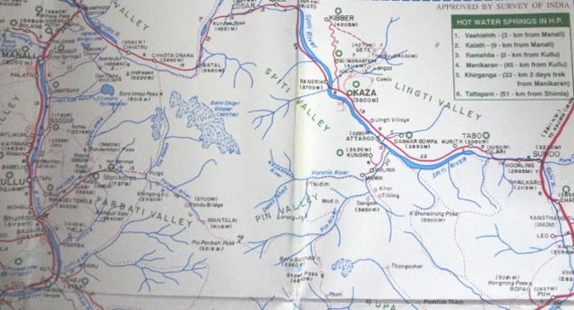 Carte Spiti valley