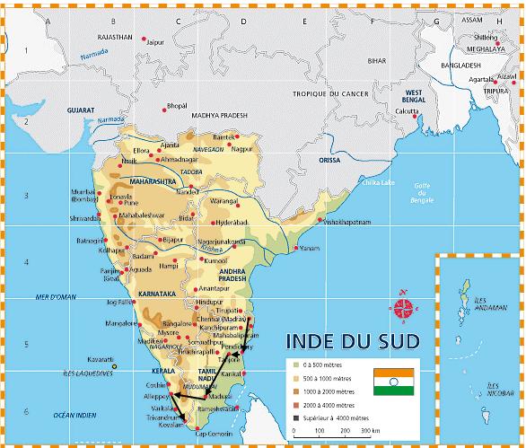 INDE DU SUD: de la côte du Coromandel à la côte du Malabar.