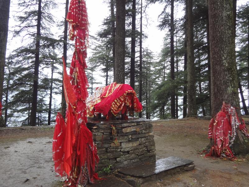 Dans la forêt, ces tissus rouges indiquent qu'une déesse est vénérée en ce lieu